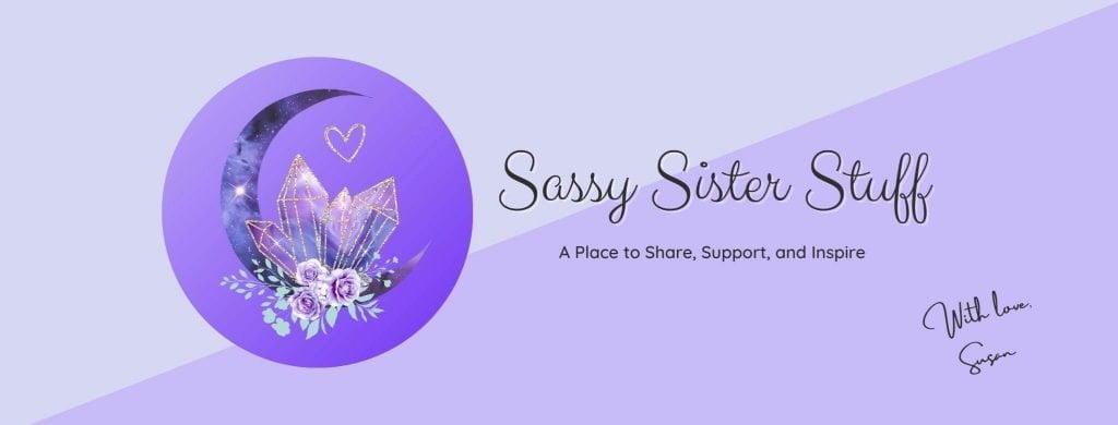 sassy sister stuff banner, tagline, and logo