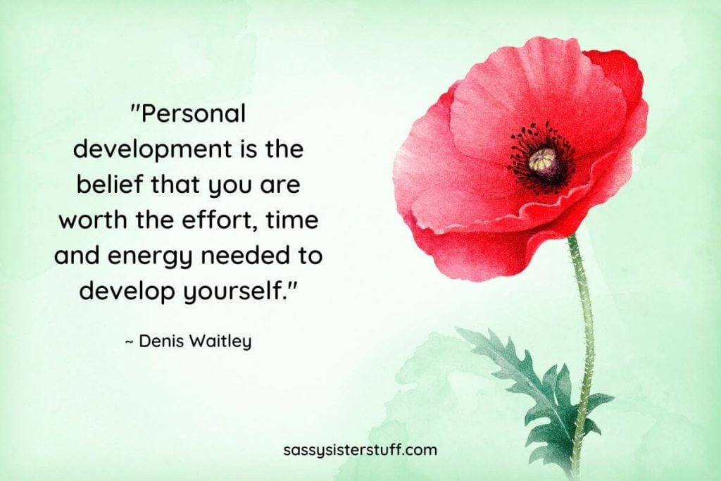 personal quote quote by denis waitley with a red flower on a green background