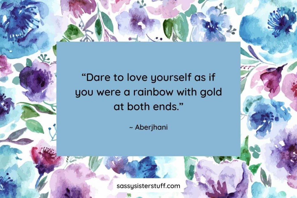 love yourself personal growth quote on floral background