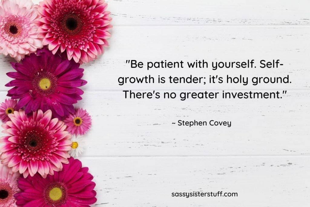 fushia and pink daisies with a self growth quote by stephen covey