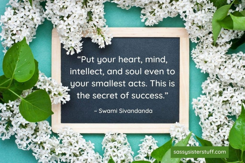 heart mind intellect and soul self growth quote on white floral background