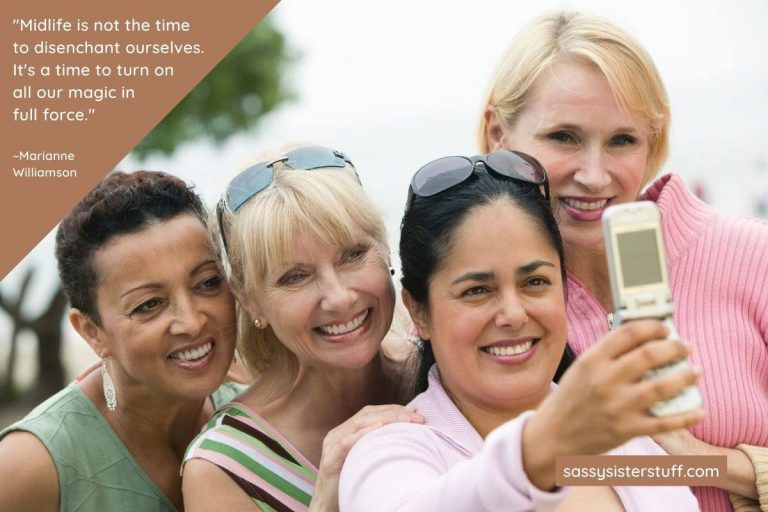 four happy middle aged women taking a selfie together and a quote about daily wellness tips for midlife