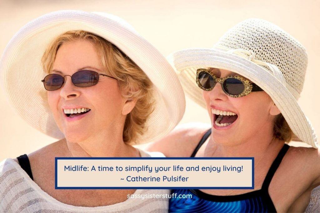 two middle aged women at the beach and a definition of midlife