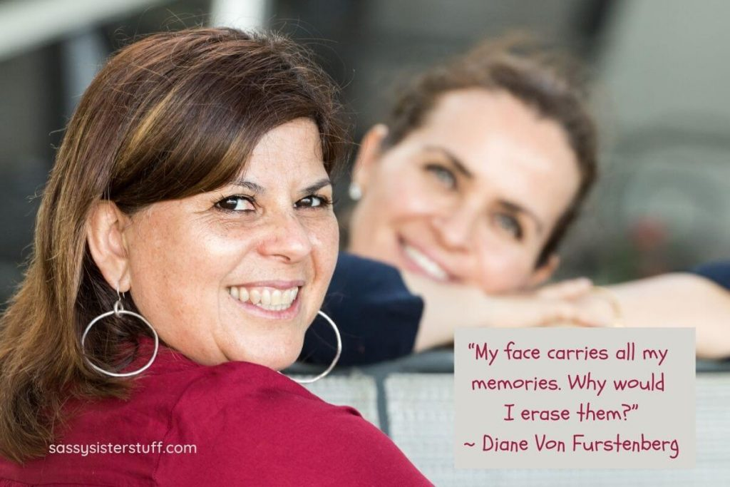 two middle aged women smiling and a quote about midlife memories