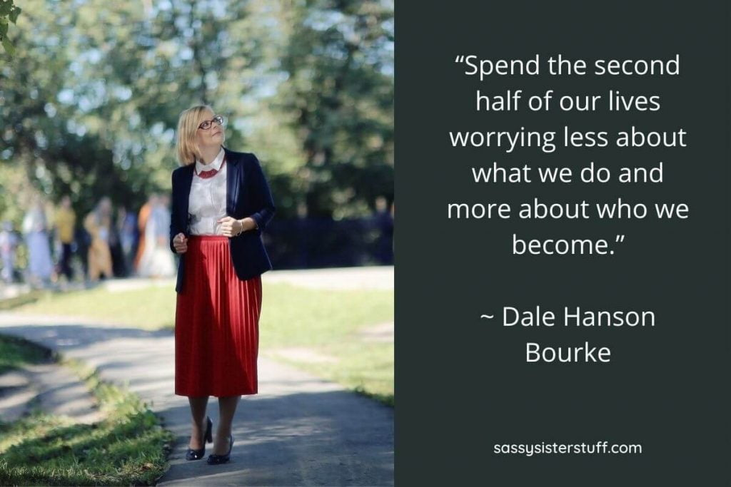 daily wellness tips quote and a middle aged woman standing on a sidewalk pondering life