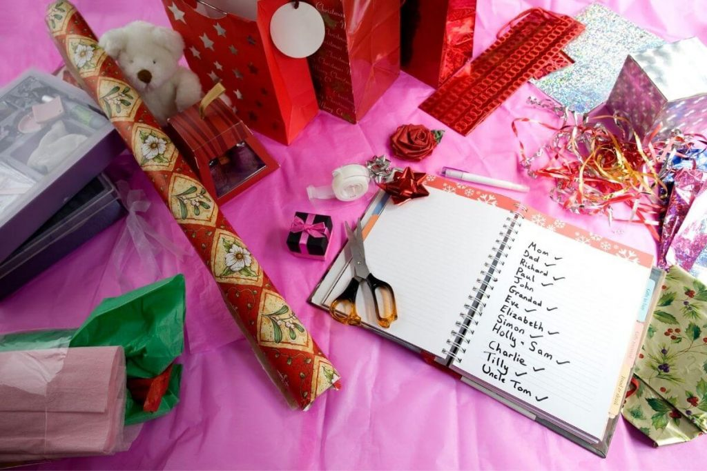 getting organized for the holidays with scissors a list wrapping paper gift bags labels tissue paper ribbon tape a pen all laying on a table