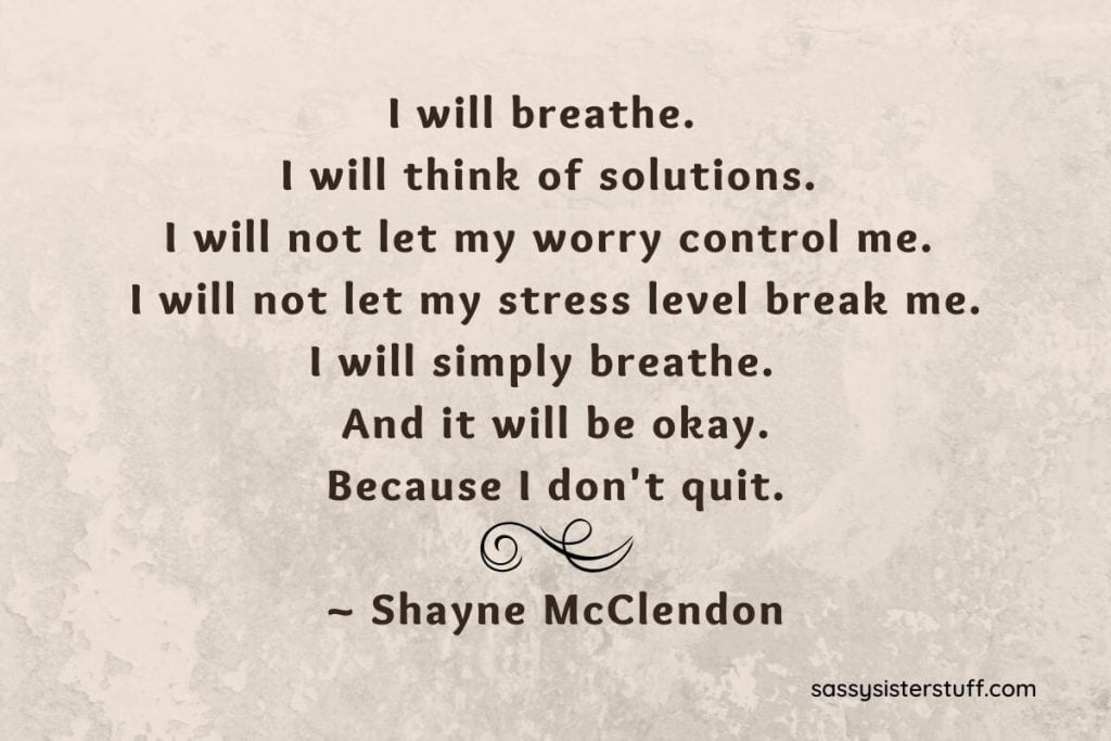 beige background with a quote about not letting your stress overwhelm you or control your life