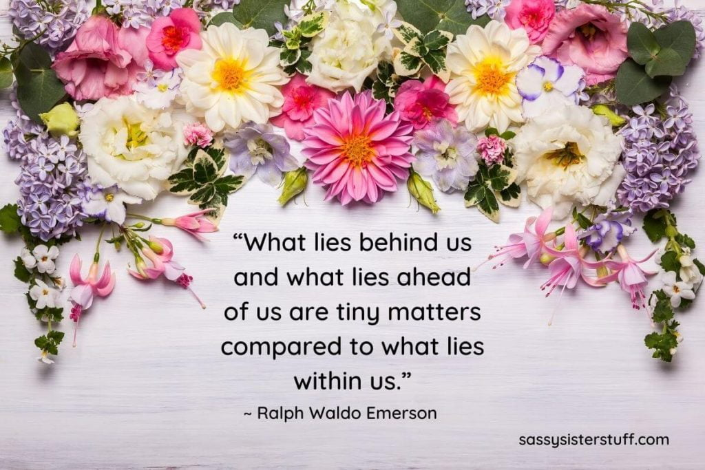what lies within us inspirational quote by ralph waldo emerson on a floral background