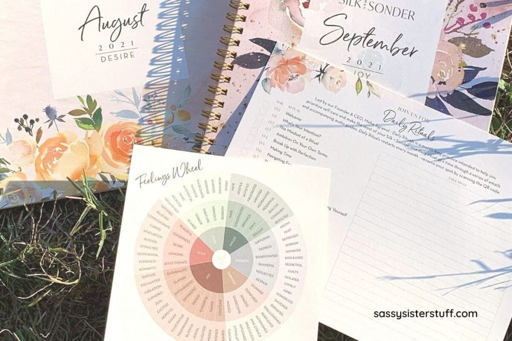 silk and sonder journals daily rituals card and feelings wheel for a silk and sonder review