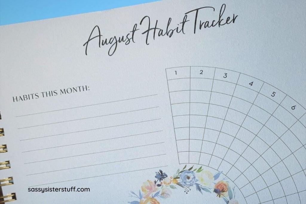 Silk and Sonder August Habit Tracker page