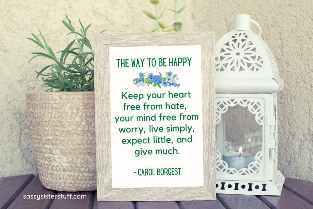 a potted green plant and a lantern with a small candle in it sitting with a framed quote about how to live a simple life and be happy