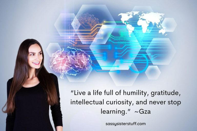 a woman looks into some brain and world geometric shapes plus an intellectual wellness tips quote about never stop learning